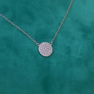 Jewelry - sterling silver pave circle necklace